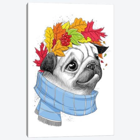 Autumn Pug Canvas Print #NKV8} by Nikita Korenkov Canvas Artwork