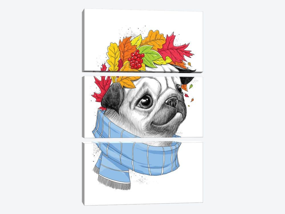 Autumn Pug by Nikita Korenkov 3-piece Canvas Print