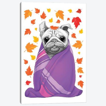 Autumn Pug In Plaid Canvas Print #NKV9} by Nikita Korenkov Canvas Art