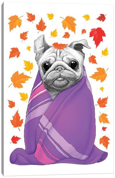 Autumn Pug In Plaid Canvas Art Print