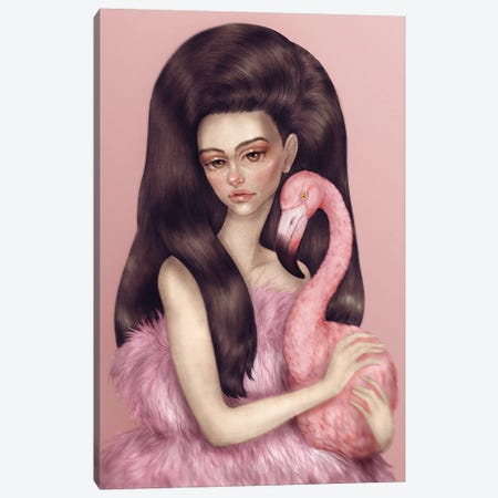 Flamingo Girl Canvas Print #NKY15} by Skinny Nicky Canvas Wall Art