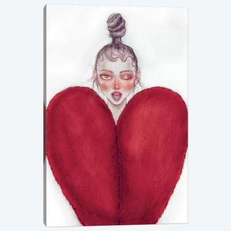 Heart Heart Canvas Print #NKY16} by Skinny Nicky Canvas Artwork