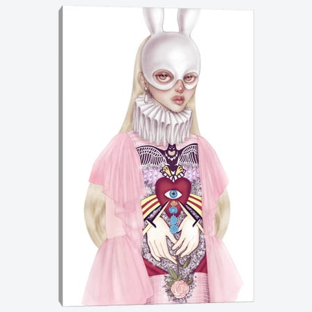 Lady White Hare I Canvas Print #NKY21} by Skinny Nicky Canvas Wall Art