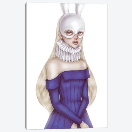 Lady White Hare II Canvas Print #NKY22} by Skinny Nicky Canvas Artwork