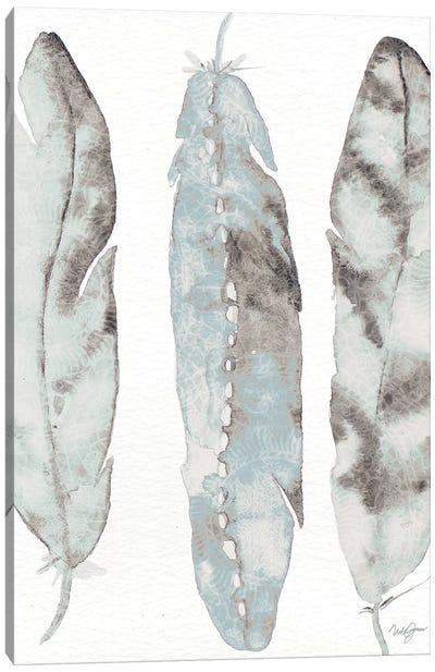 Three Blue Feathers Canvas Art Print