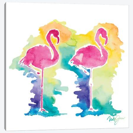 Sunset Flamingo Square I Canvas Print #NLA35} by Nola James Canvas Art Print