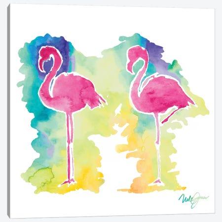 Sunset Flamingo Square II Canvas Print #NLA36} by Nola James Canvas Print