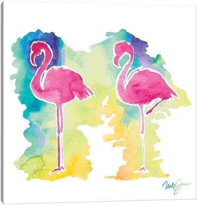 Sunset Flamingo Square II Canvas Art Print