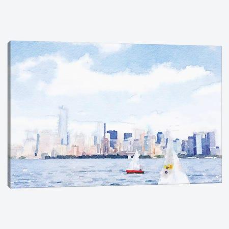 Watercolor NYC Skyline II Canvas Print #NLA42} by Nola James Canvas Print