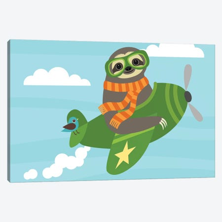 Airborne Sloth Canvas Print #NLE1} by Nancy Lee Art Print