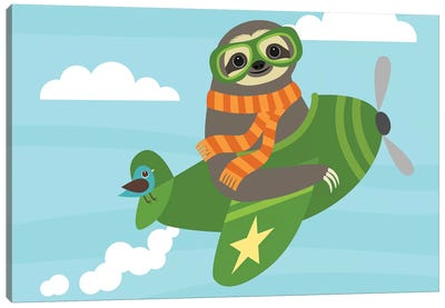 Airborne Sloth Canvas Art Print