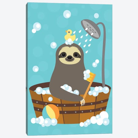 Bathing Sloth Canvas Print #NLE2} by Nancy Lee Art Print