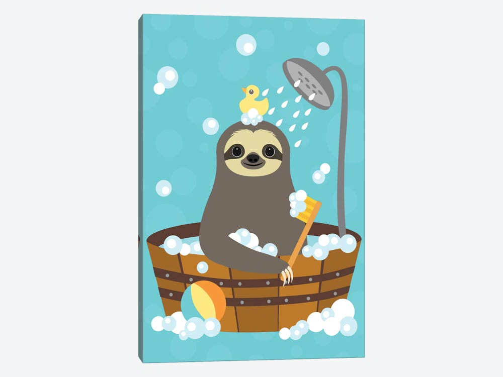 Bathing Sloth by Nancy Lee 1-piece Canvas Print