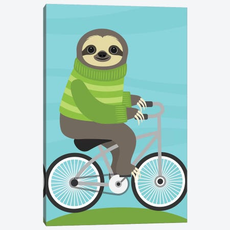 Cycling Sloth Canvas Print #NLE3} by Nancy Lee Art Print