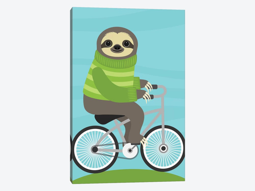 Cycling Sloth by Nancy Lee 1-piece Canvas Art