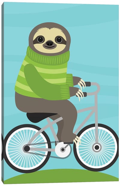 Cycling Sloth Canvas Art Print
