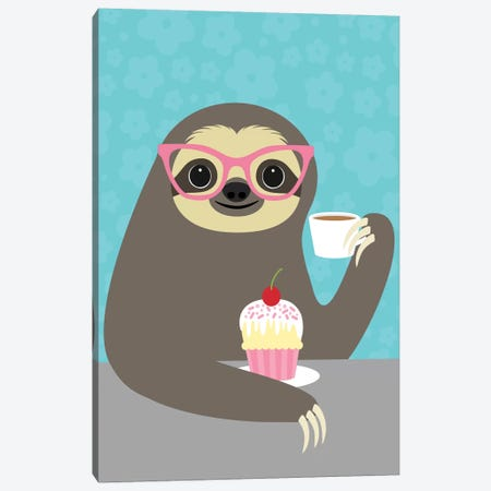 Diva Sloth Canvas Print #NLE4} by Nancy Lee Canvas Wall Art