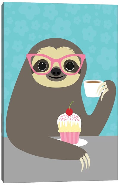 Diva Sloth Canvas Art Print