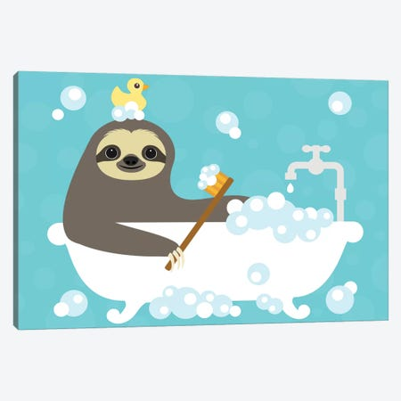Scrubbing Bubbles Sloth Canvas Print #NLE5} by Nancy Lee Canvas Art