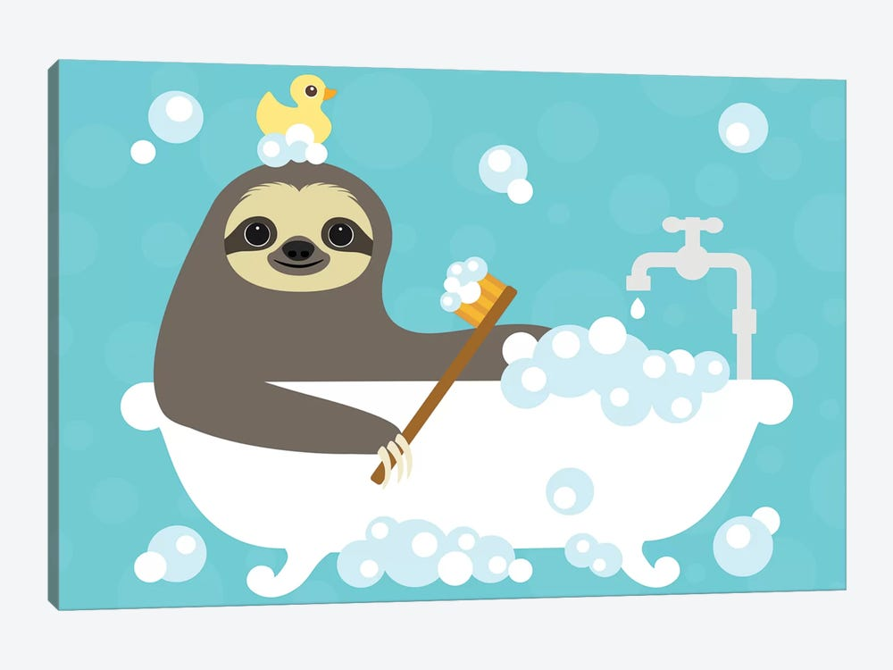 Scrubbing Bubbles Sloth by Nancy Lee 1-piece Canvas Wall Art