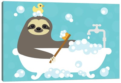 Scrubbing Bubbles Sloth Canvas Art Print