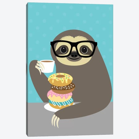 Snacking Sloth Canvas Print #NLE6} by Nancy Lee Canvas Artwork