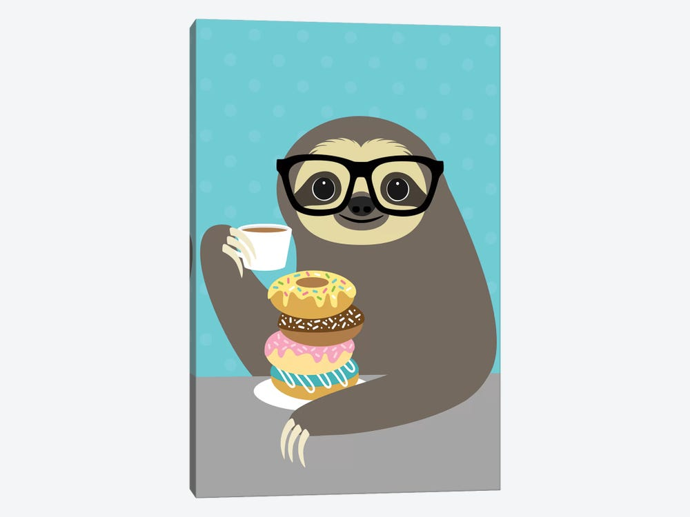 Snacking Sloth by Nancy Lee 1-piece Canvas Print