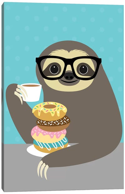 Snacking Sloth Canvas Art Print