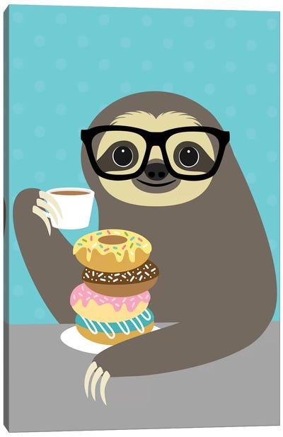 Snacking Sloth Canvas Art Print