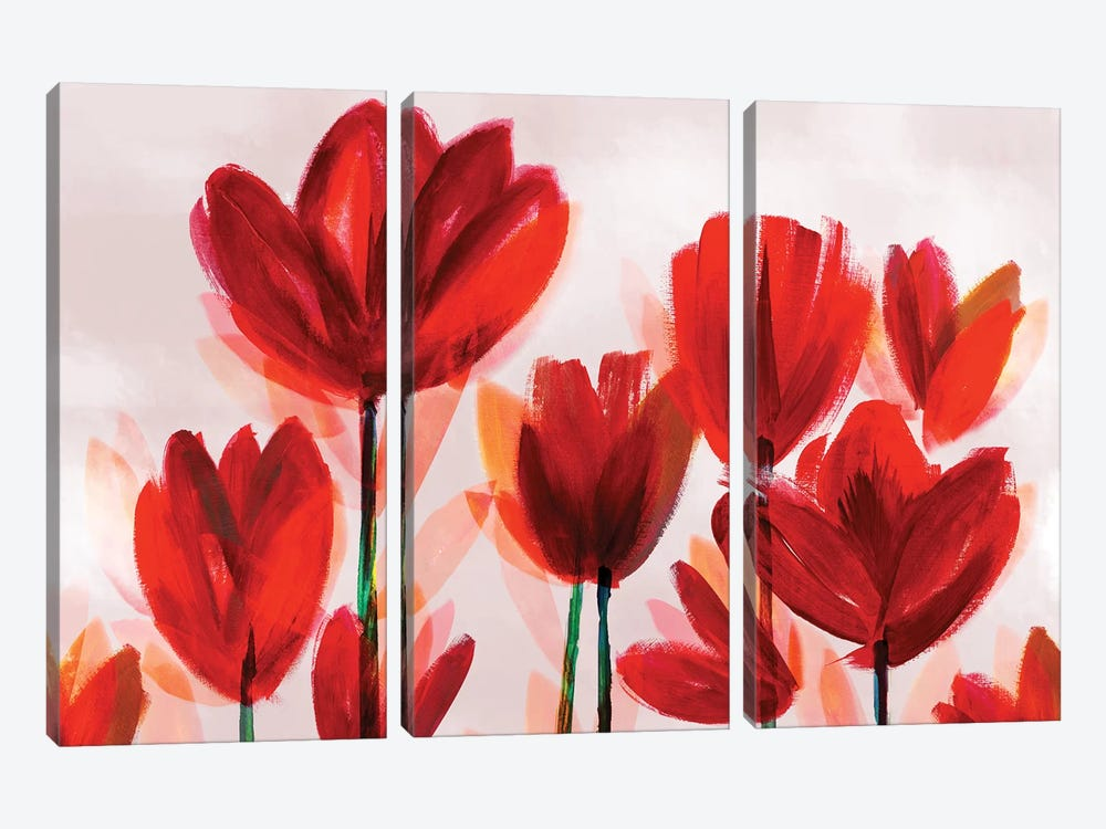 Contemporary Poppies Red by Northern Lights 3-piece Canvas Art Print
