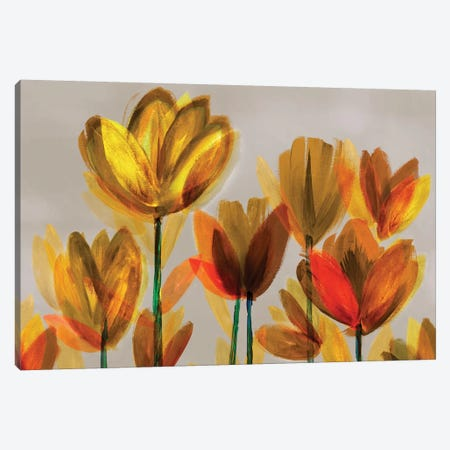 Contemporary Poppies Yellow Canvas Print #NLI13} by Northern Lights Canvas Artwork