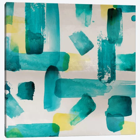 Aqua Abstract Square I Canvas Print #NLI1} by Northern Lights Art Print