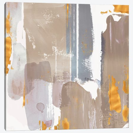Icescape Abstract Grey Gold I Canvas Print #NLI26} by Northern Lights Canvas Artwork