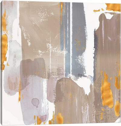 Icescape Abstract Grey Gold I Canvas Art Print