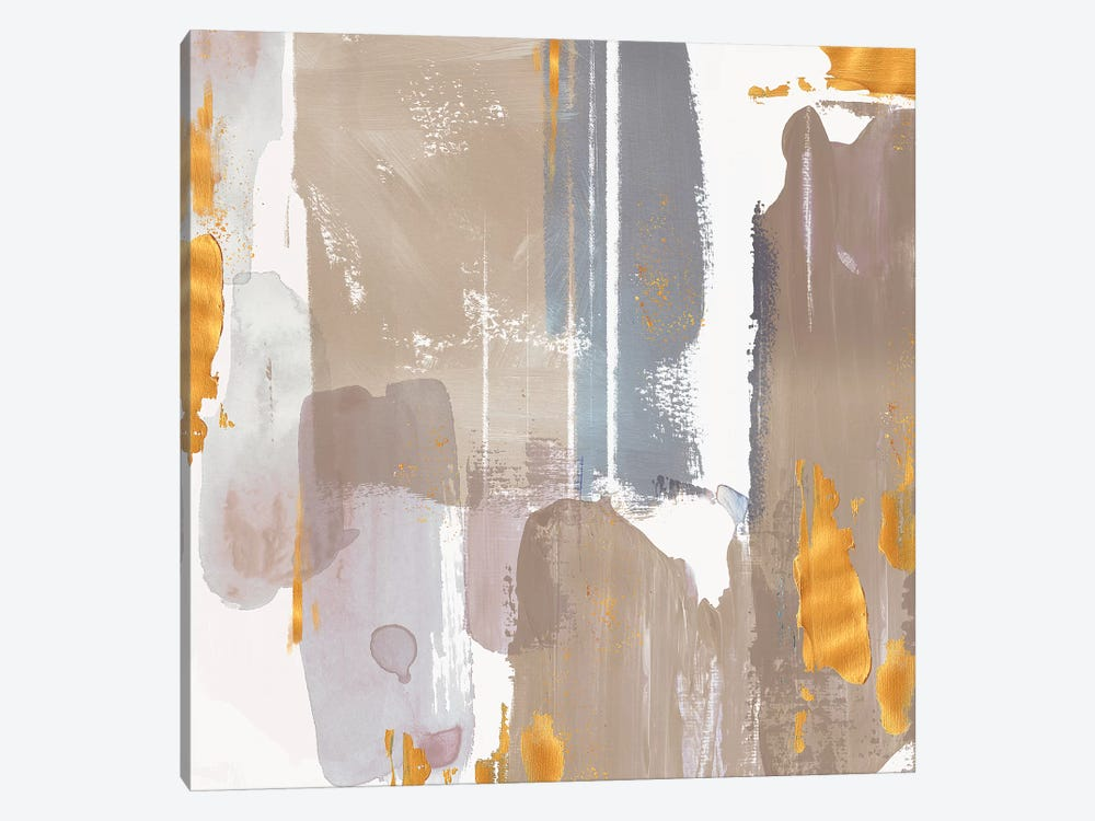 Icescape Abstract Grey Gold I by Northern Lights 1-piece Canvas Wall Art