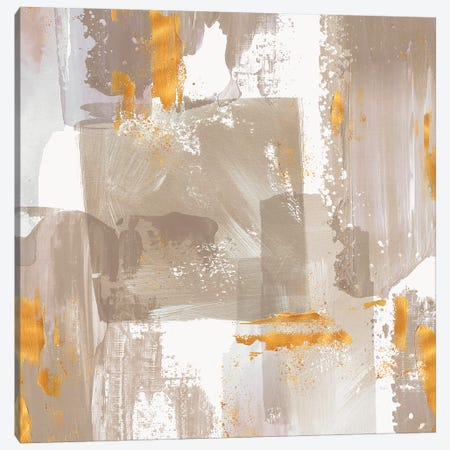 Icescape Abstract Grey Gold II Canvas Print #NLI27} by Northern Lights Canvas Art