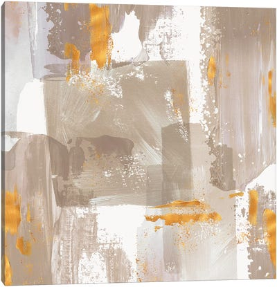 Icescape Abstract Grey Gold II Canvas Art Print