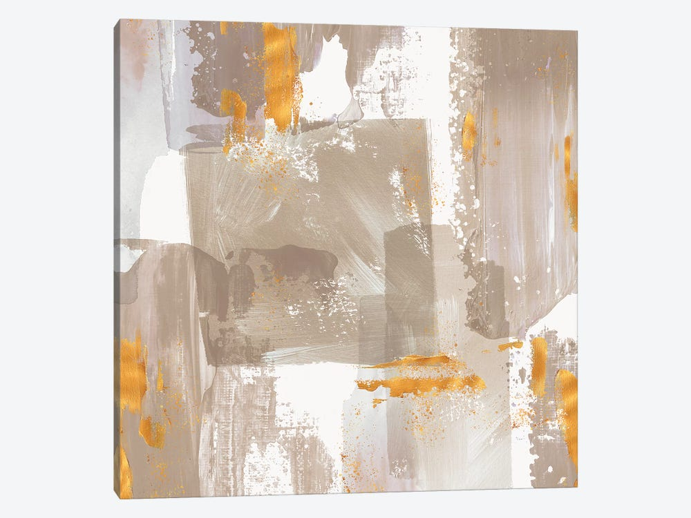 Icescape Abstract Grey Gold II by Northern Lights 1-piece Canvas Art Print