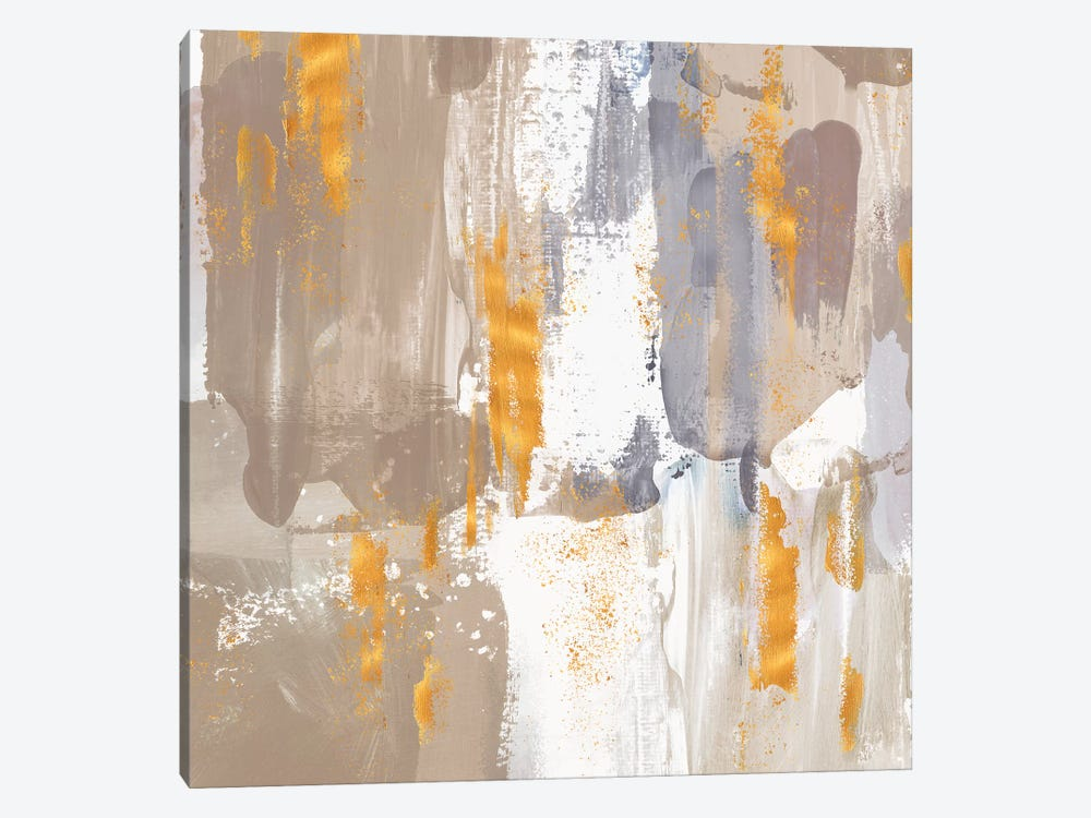 Icescape Abstract Grey Gold III by Northern Lights 1-piece Canvas Artwork