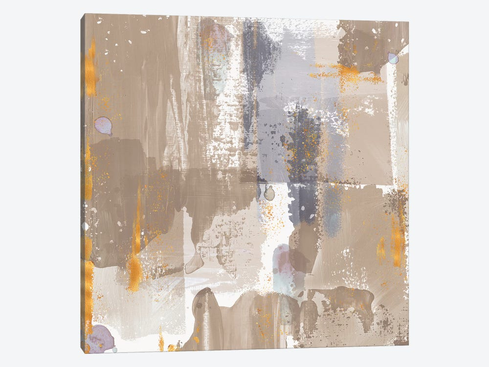 Icescape Abstract Grey Gold IV by Northern Lights 1-piece Canvas Art Print