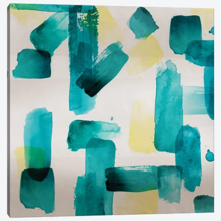 Aqua Abstract Square II Canvas Print #NLI2} by Northern Lights Canvas Print