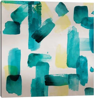Aqua Abstract Square II Canvas Art Print