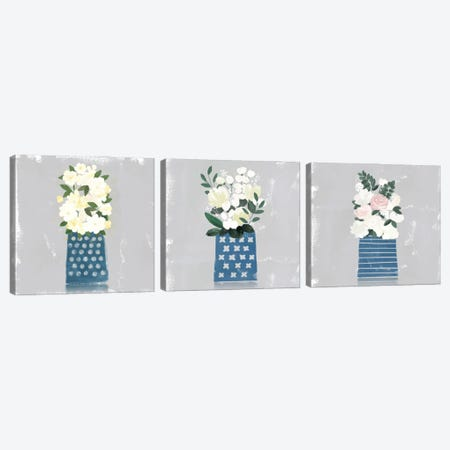 Contemporary Flower Jar Triptych Canvas Print Set #NLI3HSET001} by Northern Lights Canvas Art