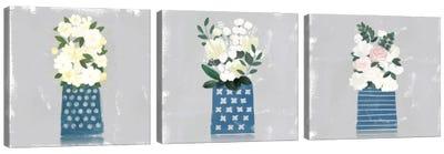 Contemporary Flower Jar Triptych Canvas Art Print