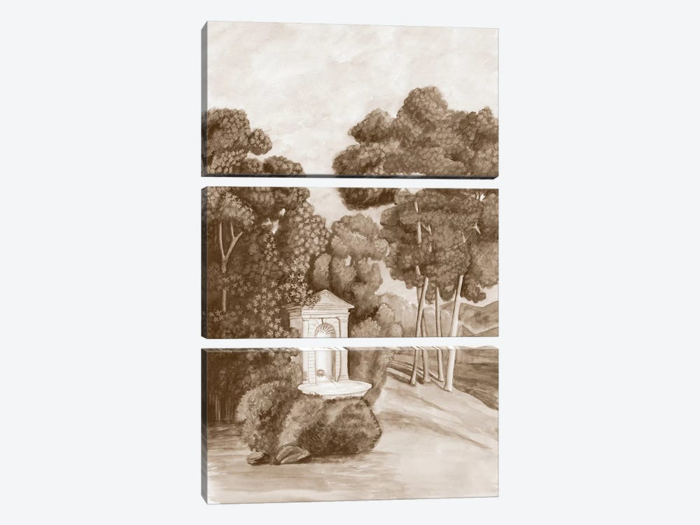Sepia French Wall Paper I by Naomi McCavitt 3-piece Canvas Artwork