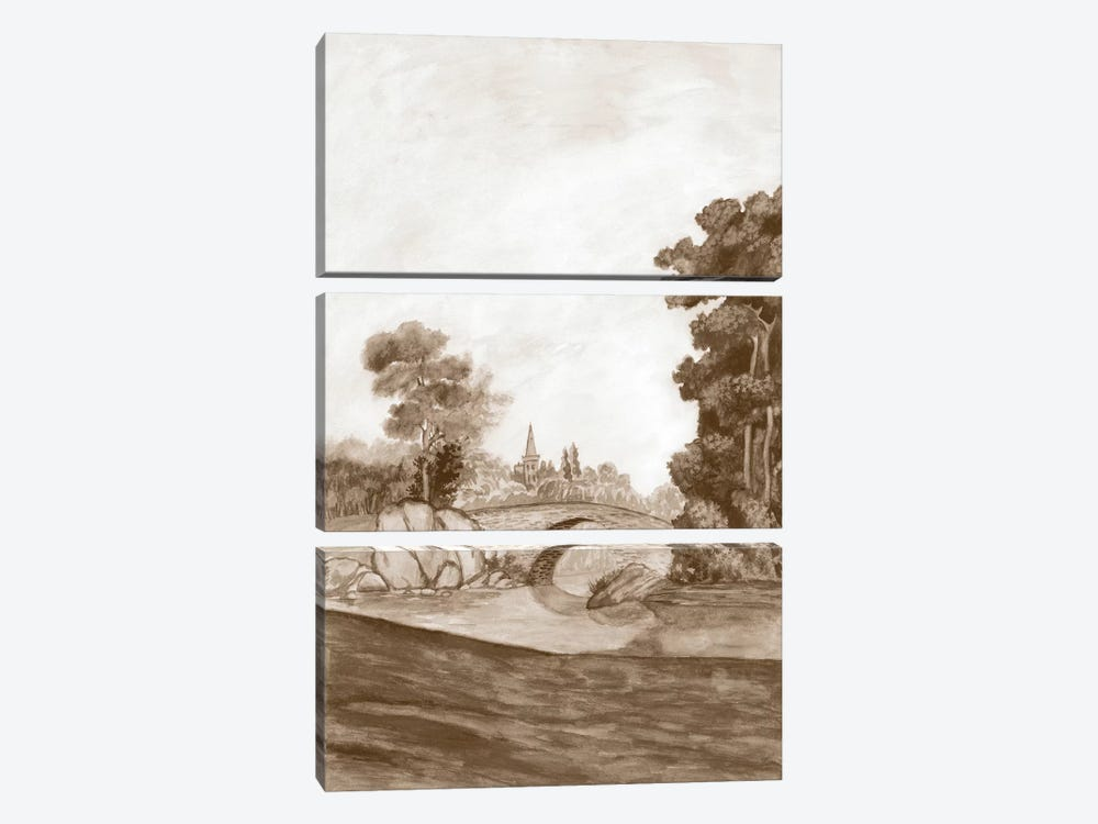 Sepia French Wall Paper III by Naomi McCavitt 3-piece Canvas Art