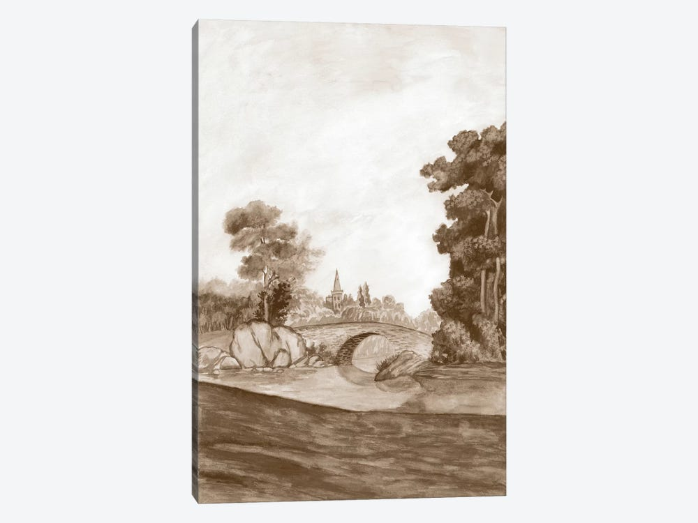 Sepia French Wall Paper III by Naomi McCavitt 1-piece Canvas Artwork