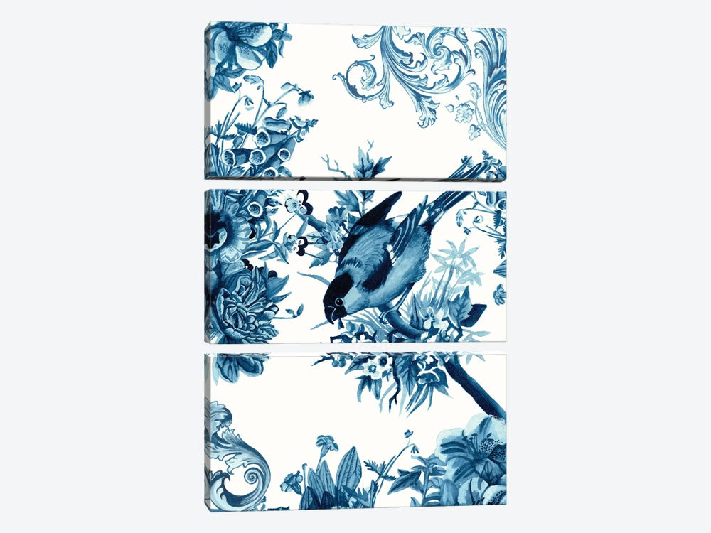 Bird & Branch In Indigo I by Naomi McCavitt 3-piece Canvas Wall Art