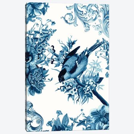 Bird & Branch In Indigo I Canvas Print #NMC187} by Naomi McCavitt Canvas Wall Art