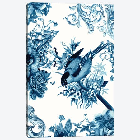 Bird & Branch In Indigo I Canvas Print #NMC187} by Naomi McCavitt Canvas Wall Art